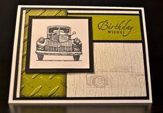 Masculine Birthday Card, Antique Truck Birthday Card, Stampin' Up Birthday Card on Etsy, $3.50