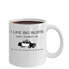 BIG COP BUSTS 11oz Police Officer Badge Gear Coffee Mug Cup made of White Ceramic with Large EasyGrip Handle is Perfect Gift Idea For Husbands Dad Wife Sister Brother Papa * Check this awesome product by going to the link at the image.