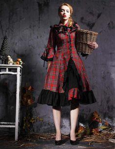 Long Sleeves Lolita Dress Red Plaid And Black