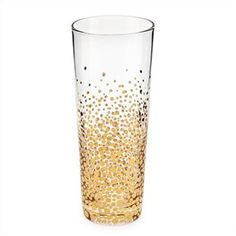 Super cool!  Bubbly Champagne Flutes, Gold- buy a set of clear glasses and with non-toxic gold paint dot on with q-tip making sure not to get too close to rim