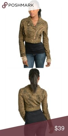 Leopard Print  with Assemetrical Zip Feature This stylish leopard printed jacket features an asymmetric zipped front closure with wide collars. Olive green and black print. Denim feel. NWT Fabric Content: 95% COTTON 5% SPANDEX Size Scale: S-M BohoBeauRoseBoutique Jackets & Coats Jean Jackets