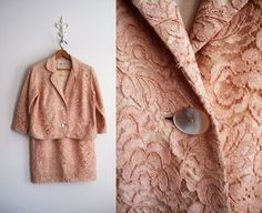 Peach Lace Suit Mother of the Bride Lace by ShantyIrishVintage