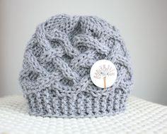 Knit Baby Hat Baby Boy Newborn Baby Beanie Grey Baby by saidonia, $ 21.00