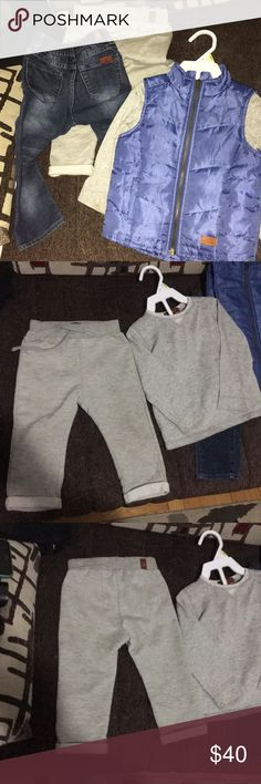 ⏳kids 4 piece 7 for all mankind bundle set 24month Vest, jeans, sweatpants and long sleeve (undershirt) all for 24m 7 For All Mankind Matching Sets