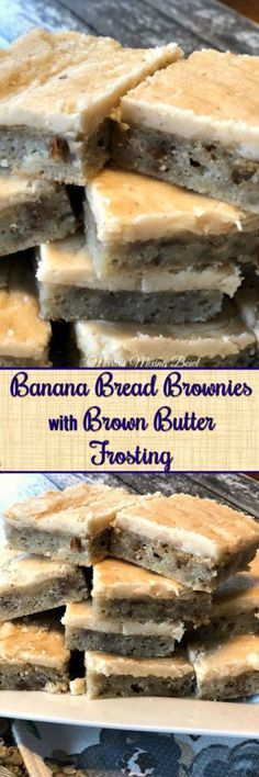 Banana Bread Brownies with Brown Butter Frosting - If you like bananas in any way, shape, or form, this recipe is for you. A moist, almost fudgy, cake topped with a brown butter frosting. #banana #brownies #easy #brownbutter #frosting #delicious