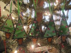 MIni Christmas tree  Stained Glass Ornaments by LuciasGiftEmporium, $14.99