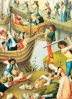 Primitifs Flamands XVè Maître de la Légende de Ste Ursule Scène de la vie de St Ursule Groupe massacré par les Huns.