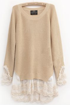 Beige Long Sleeve Contrast Lace Pullovers Sweater US$32.70