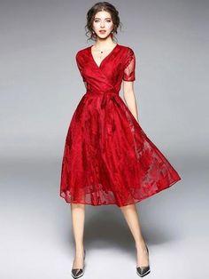 27c7b232c7e Burgundy   Blue Slim V neck lace short sleeve long dress Burgundy   Blue  Slim V neck lace short sleeve long dress