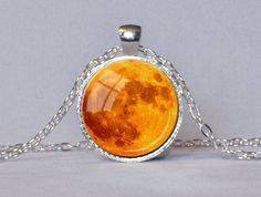 HARVEST MOON PENDANT Orange Full Moon Necklace Halloween Moon Eclipse Moon Orange Red and Silver Planet Jewelry