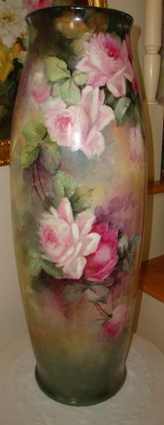 "Antique Limoges France Hand Painted 22"" Floor Vase with Roses 19th Century  Painting"