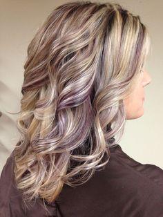 Purple lowlights in blonde hair - asian black hairstyles Growing Out Short Hair Styles, Curly Hair Styles, Purple Highlights Blonde Hair, Blonde Fall Hair Color, Peekaboo Highlights, Low Lights Hair, Cool Hairstyles, Black Hairstyles, Hairstyle Ideas