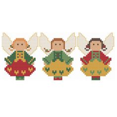A traditional trio of three German-inspired angels, perfect to celebrate the holiday season or to use in creating an ornament or decoration for