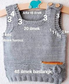 Best 12 (Notitle) - Mİnİklerİme Kazak T Crochet - Diy Crafts Baby Sweater Knitting Pattern, Knit Vest Pattern, Baby Boy Knitting, Knitting For Kids, Baby Knitting Patterns, Knitting Designs, Hand Knitting, Knitting Projects, Pull Bebe