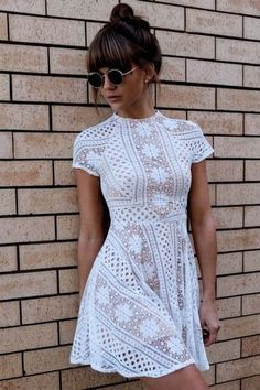 Dress: mini lace white bun brunette summer round sunglasses white lace short sleeve short sleeve