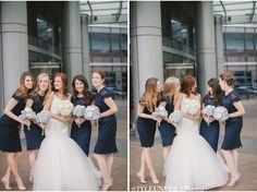 Bridesmaids dressed in midnight blue Monique Lhuillier Sister Wedding, Wedding Stuff, Dream Wedding, Wedding Things, Gold Wedding, Navy Bridesmaid Dresses, Lace Bridesmaids, Bridal Dresses, Monique Lhuillier
