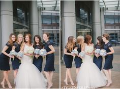Bridesmaids dressed in midnight blue Monique Lhuillier / Gina Meola Photography / via StyleUnveiled.com
