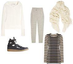 PROENZA SCHOULER sweater, IRO sweatpants, Isabel Marant scarf, Maison Martin Magiela sneakers, L'AGENCE top