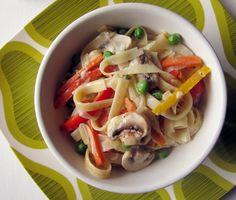 yummy pasta dish- capsicum peas mushrooms and cream cheese