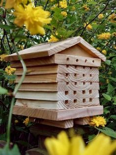 Bee Hotel from Wildlife World -- for carpenter & mason bees - not honey bees Insect Hotel, Bug Hotel, Mason Bees, Garden Bugs, Garden Gate, Bee House, Bee Friendly, Save The Bees, Bees Knees