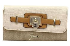 Guess Womens Greyson Natural Multi Slim Clutch TriFold Wallet * Check this awesome product by going to the link at the image.