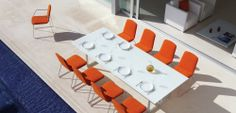 Outdoor Patio Ideas Orange outdoor chairs Outdoor Dining Set, Outdoor Dining Furniture, Outdoor Chairs, Outdoor Living, Dining Table, Dining Room, Wicker Chairs, Au, Interior Design