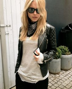 Black leather jacket and stripes - I want this jacket!!! Where is it from???