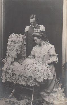 Carl Edward, duke of Saxe Coburg, with spouce, Viktoria Adelheid (nee Princess of Schleswig-Holstein) and firstborn son, Prince Johann Leop...