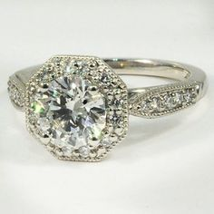 Platinum Victorian Halo Diamond Ring - Set with a 1.15 Carat, Round, Super Ideal Cut, F Color, VS1 Clarity Diamond #BrilliantEarth