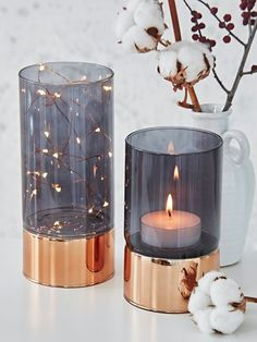 Smoked Glass Tealight Hurricanes - These are so pretty. #Home #Decor