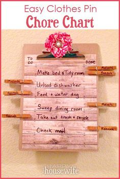 DIY Project: How to Make an Easy Clothes Pin Chore Chart at The Happy Housewife