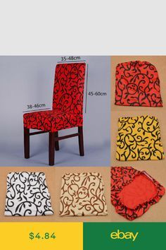 Stretch Chair Cover Short Dining Room Stool Slipcovers Removable Spandex Red 1pc Dining Chair Covers Slipcovers For Chairs Diy Chair Covers