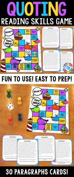 Quoting Board Game contains 30 paragraph game cards and a game board to help students practice quoting texts when answering comprehension questions. This game works great as a pair/group activity, or for use in literacy centers when teaching the skill of quoting!