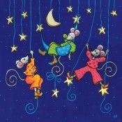 """Colette Reydet carte postale carrée (14 cm) """"Les souris de la nuit"""""""