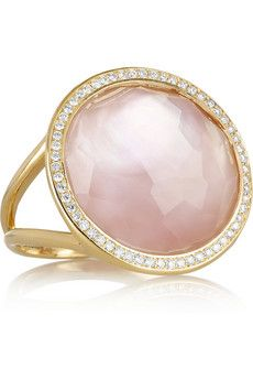 Lollipop 18-karat gold, mother of pearl and diamond ring by Ippolita
