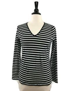 RALPH LAUREN Size M Medium Womens Jeans Co LRL Striped V Neck Long Sleeve Tee #RalphLauren #KnitTop #Casual