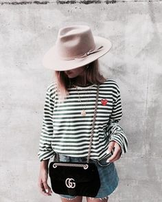 //pinterest @esib123 // #style #inspo #fashion striped top and denim shorts