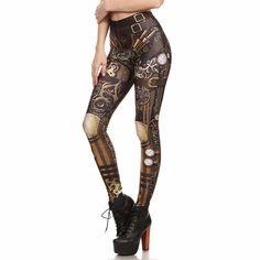 Women Steampunk Retro Leggings Comic Cosplay Punk Print Polyester Gothic Trousers Capris Pants Plus Size Steampunk Mode, Steampunk Outfits, Style Steampunk, Steampunk Clothing, Steampunk Fashion, Steampunk Images, Gothic Steampunk, Steampunk Leggings, Skull Leggings