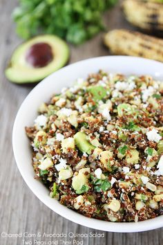 Charred Corn & Avocado Quinoa Salad Recipe on twopeasandtheirpod.com