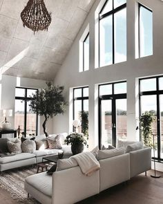 This beautiful white textural living room was designed by husdrommen lindel Interior Design Inspiration, Home Decor Inspiration, Home Interior Design, Home Living Room, Living Room Decor, Living Spaces, Dream Home Design, House Design, Loft Design