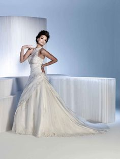Fashionable A-line empire waist taffeta wedding dress