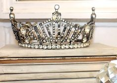 """One pinner called this an """"Antique Opera Costume Crown Tiara"""" but it sure looks like a tarnished MAO local crown."""
