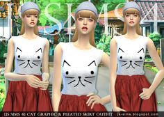 Cat Graphic & Pleated Skirt outfit at JS Sims 4 via Sims 4 Updates
