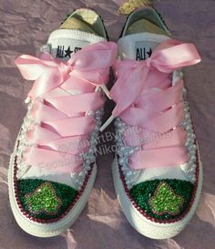 Custom AKA pearl bling converse. See video of these on my Instragram @SkinArtByNiko or Facebook in my page Niko J Designs.