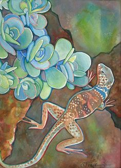 Southwest Desert Collared Lizard Original Watercolor Painting by Susan Faye, SusanFayePetProjects on Etsy,
