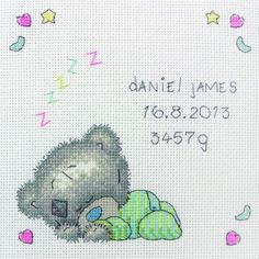 Sleeping Baby Tiny Tatty Teddy Cross Stitch Kit only £18.35 - Past Impressions #crossstitch #baby #birth