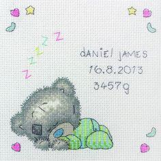 Sleeping Baby Tiny Tatty Teddy Cross Stitch Kit only £18.35 - Past Impressions #crossstitch #baby #birth