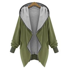 Casual Hooded Long Sleeve Asymmetrical Loose-Fitting Women's Trench Coat