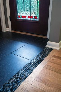 Brookfield Midcentury Modern Interior Remodel is part of home Remodeling Floors - This midcentury modern Brookfield home was remodeled with an open concept design in mind Load bearing walls were removed to allow for an open transition from t… Entryway Flooring, Wooden Flooring, Kitchen Flooring, Hardwood Floors, Flooring Ideas, Tile Entryway, Kitchen Wood, Entry Tile, Laminate Flooring