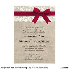 Ivory Lace Red Ribbon Burlap Wedding InvitationThis custom wedding invitation is the perfect combination of traditional and trendy. The burlap background is perfect for a rustic or vintage themed wedding and the lace accent adds a classic, romantic touch. Email me for custom colors!